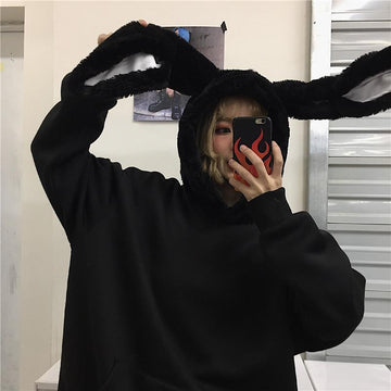 Modakawa Sweatshirt Black / M Rabbit Ears Oversize Brushed Hoodie
