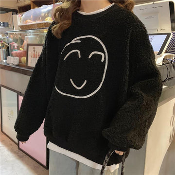 Modakawa Sweatshirt Black / M Smile Face Fake Two-Piece Loose Sweatshirt