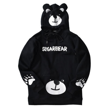 Modakawa Sweatshirt Black / M SUGARBEAR Letter Print Ears Pocket Oversized Hoodie