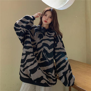 Modakawa Sweatshirt Black / M Zebra Stripe Plush Oversized Sweatshirt