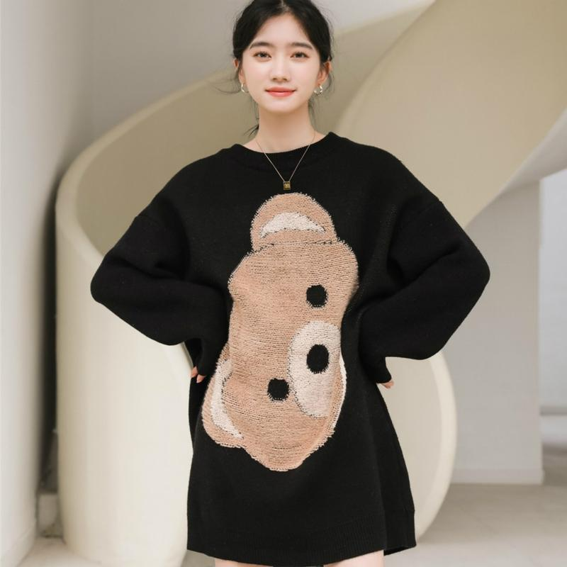 Modakawa Sweatshirt Black / One Size Bear Letter Knitted Sweater