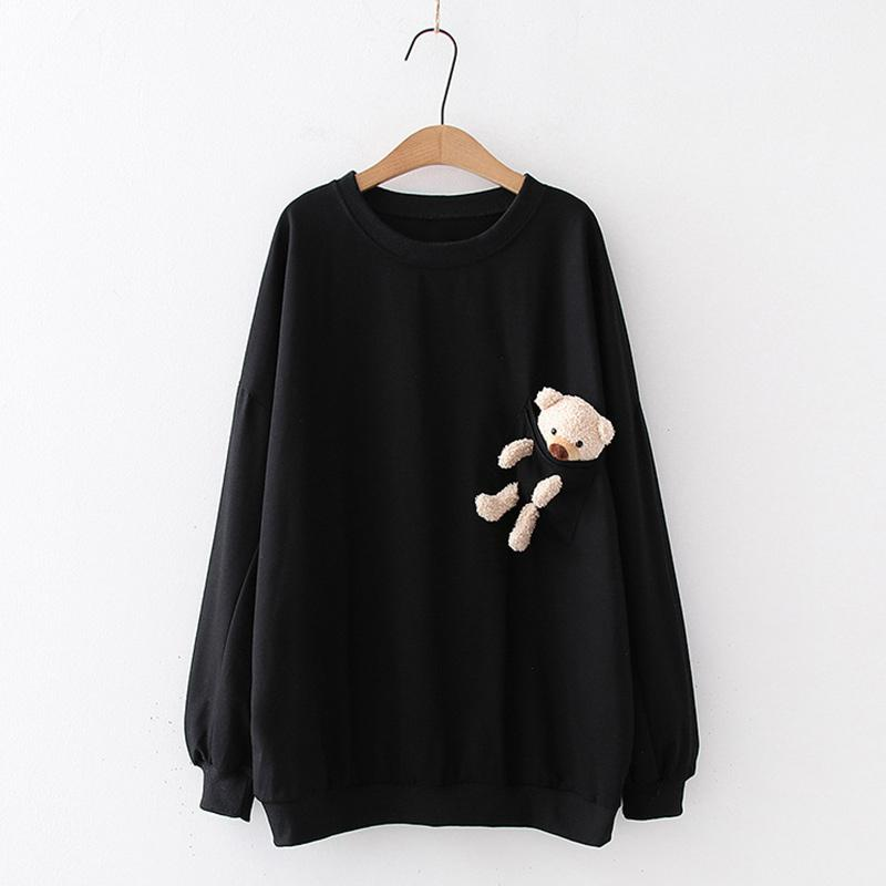 Modakawa Sweatshirt Black / One Size Bear Pocket Loose Sweatshirt