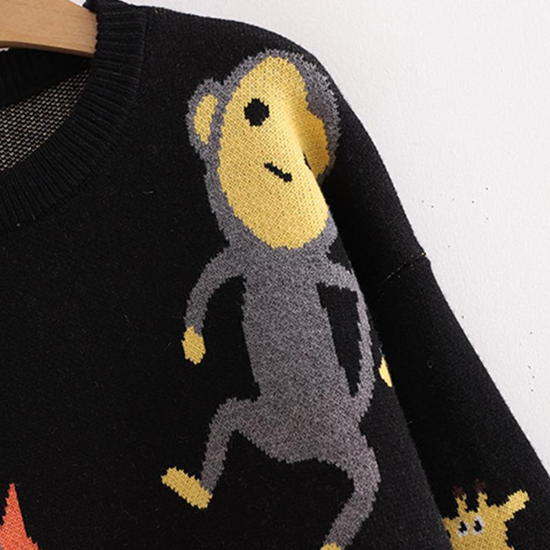 Modakawa Sweatshirt Black / One Size Cartoon Animal Fox Monkey Knitted Sweater