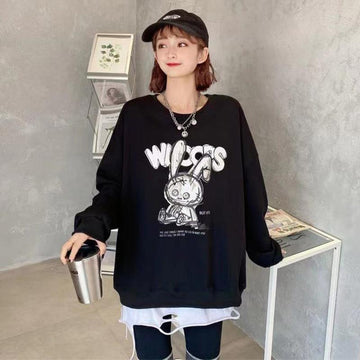 Modakawa Sweatshirt Black / One Size Cartoon Bunny Print Oversized Sweatshirt