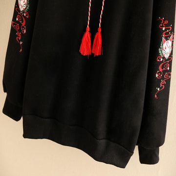 Modakawa Sweatshirt Black / One Size Cartoon Fox Tassel Drawstring Hoodie