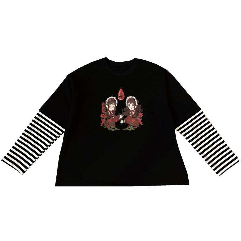 Modakawa Sweatshirt Black / One Size Cartoon Girls Print Stripe Fake Two-Piece Sweatshirt