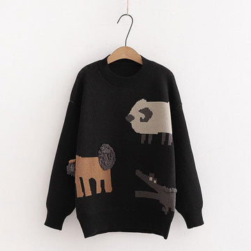 Modakawa Sweatshirt Black / One Size Cartoon Sheep Crocodile Lion Tail Ball Sweater