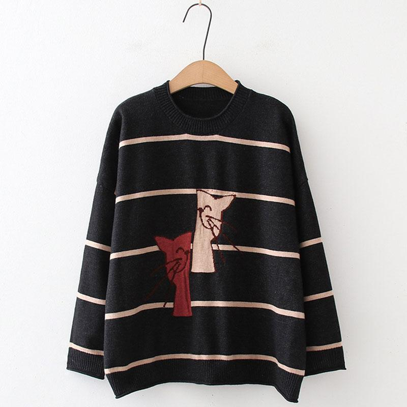 Modakawa Sweatshirt Black / One Size Cat Embroidery Stripe Knitted Sweater