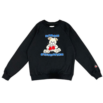 Modakawa Sweatshirt Black / One Size Cherry Bunny Print Loose Sweatshirt
