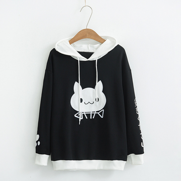 Modakawa Sweatshirt Black / One Size Cute Cat Eat Fish Print Hoodie