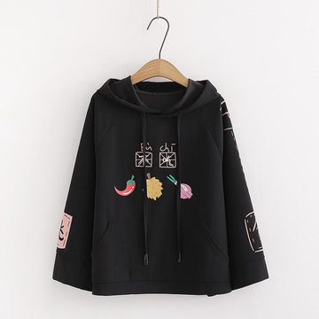 Modakawa Sweatshirt Black / One Size Cute Print Pocket Student Loose Hoodie