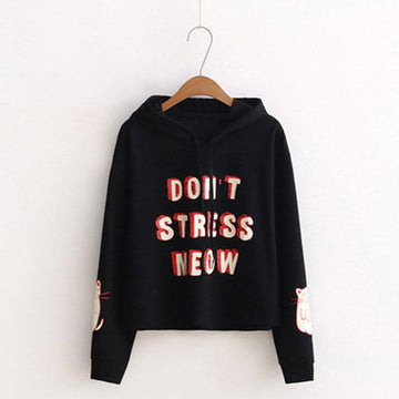 Modakawa Sweatshirt Black / One Size DON'T STRESS MEOW Letter Kitty Print Hoodie