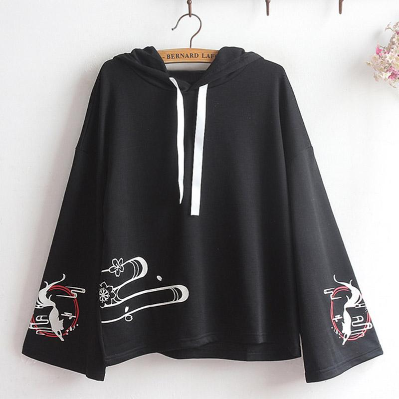 Modakawa Sweatshirt Black / One Size Fox Print Loose Sleeve Hoodie