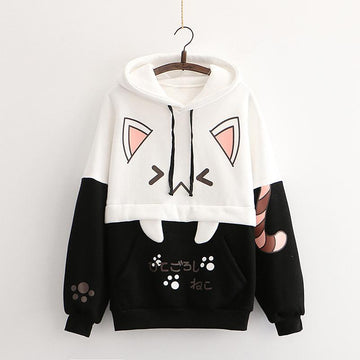 Modakawa Sweatshirt Black / One Size Kitty Claw Print Color Block Hoodie