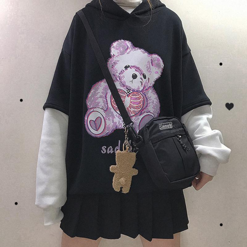 Modakawa Sweatshirt Black / One Size SAD BEAR Print Fake Two-Piece Hoodie