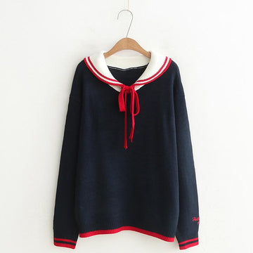 Modakawa Sweatshirt Black / One Size School Collar Stripe Bowkont Tie Embroidery Knitted Sweatshirt