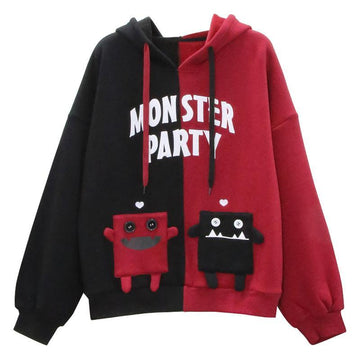 Modakawa Sweatshirt Black & Red / One Size MONSTER PARTY Letter Print Color Block Hoodie
