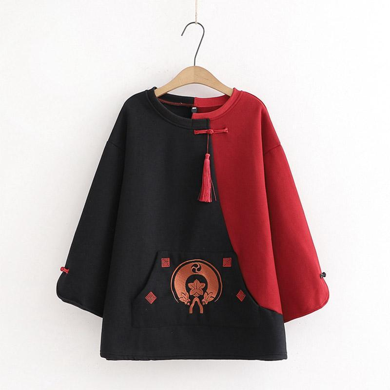 Modakawa Sweatshirt Black & Red / S Embroidery Tassels Frog Button Color Block Sweatshirt
