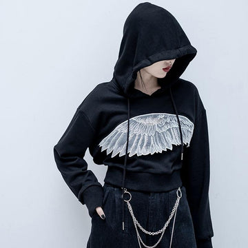 Modakawa Sweatshirt Black / S Angel Wing Crop Tank Top Hoodie Two-piece