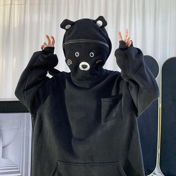 Modakawa Sweatshirt Black / S Bear Ears Zipper Pocket Oversized Hoodie