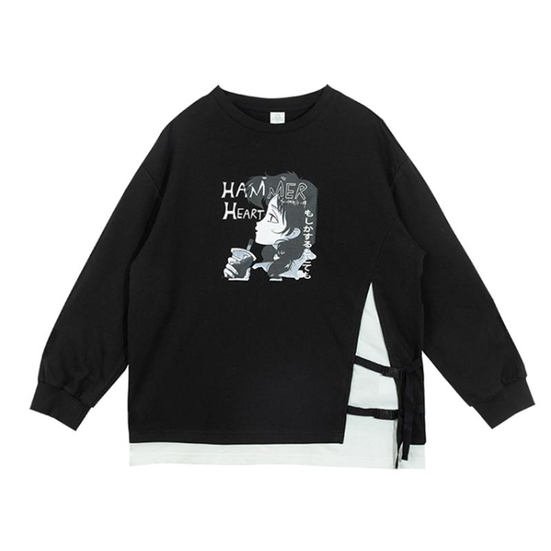 Modakawa Sweatshirt Black / S HAMMER HEART Cartoon Fake 2pcs Sweatshirt