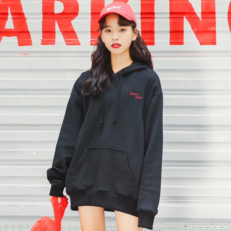 Modakawa Sweatshirt Black / S Heart pure Letter Embroidery Hoodies Sweatshirt