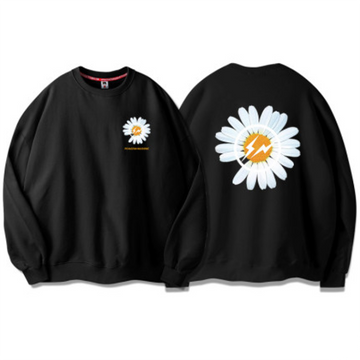 Modakawa Sweatshirt Black / S Little Daisy Print Sweatshirt Round Neck