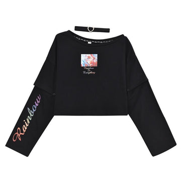 Modakawa Sweatshirt Black / S RAINBOW Letter Print Arm Sleeve Crop Top T-shirt Sweatshirt