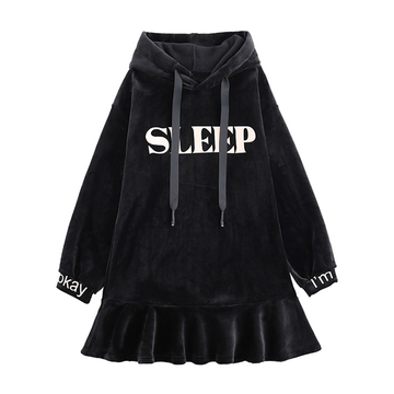 Modakawa Sweatshirt Black / S SLEEP Letter Print Velvet Ruffle Hooded Dress