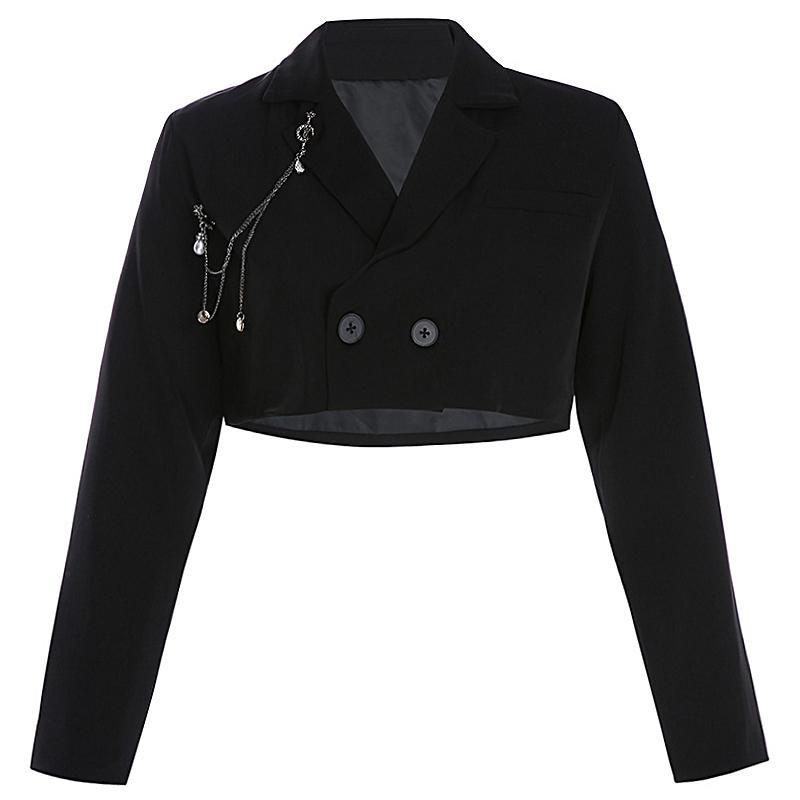 Modakawa Sweatshirt Black / S Solid Color Crop Blazer Jacket