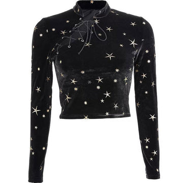 Modakawa Sweatshirt Black / S Stars Print Lace Up Velvet Crop Top Sweatshirt