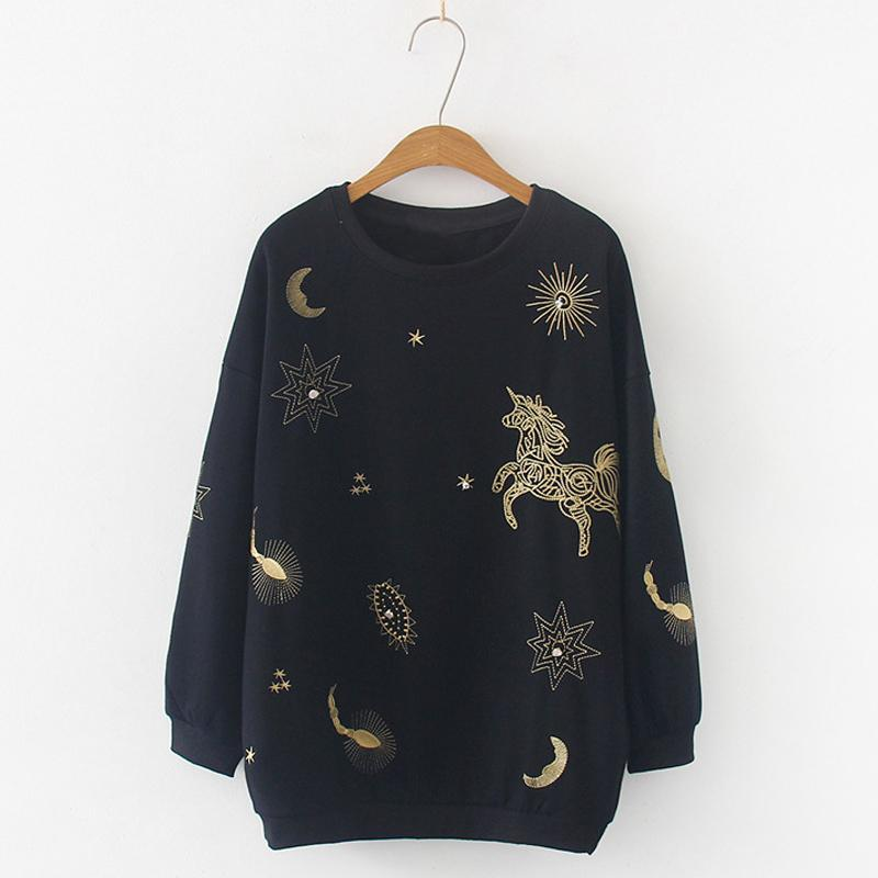Modakawa Sweatshirt Black Star Moon Horse Embroidery Sweatshirt Loose