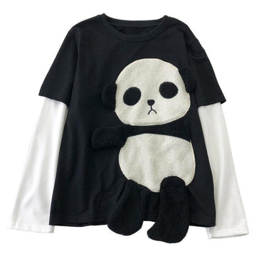 Modakawa Sweatshirt Black & White / One Size Cute Panda Fake Two-Piece Sweatshirt