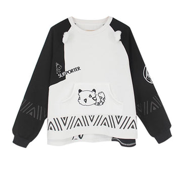 Modakawa Sweatshirt Black & White / S Leopard Letter Embroidery Pocket Color Block Sweartshirt