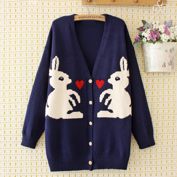 Modakawa Sweatshirt Blue / 2XL Rabbit Love Heart Cardigan Sweater
