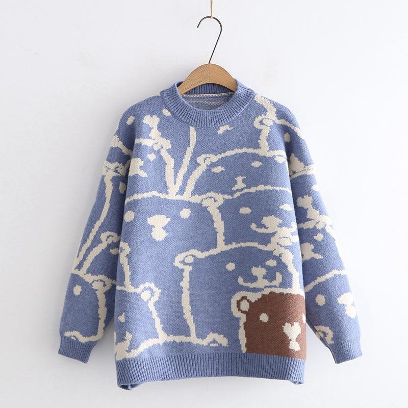 Modakawa Sweatshirt Blue Bear Cartoon Loose Sweater