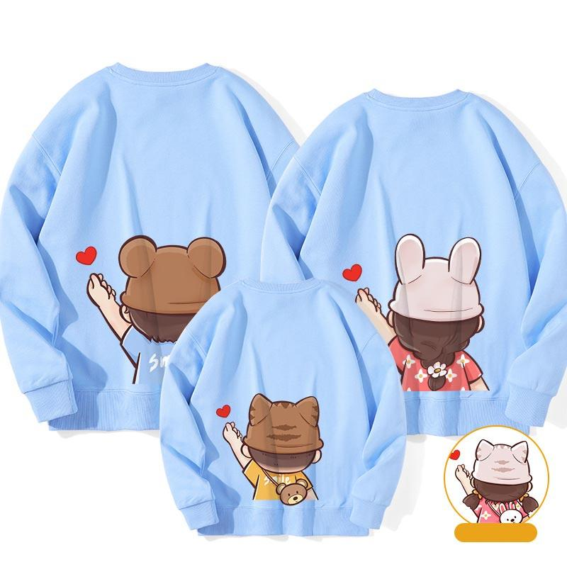 Modakawa Sweatshirt Blue / Boy: 130 Letter Love Heart Print Family Matching Sweatshirts