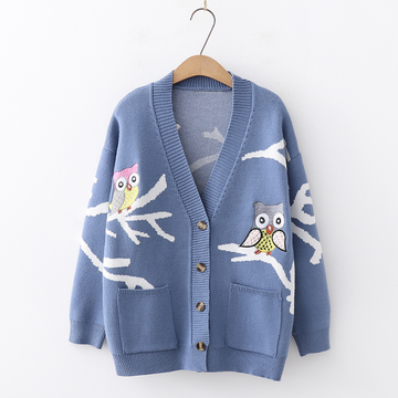 Modakawa Sweatshirt Blue Cartoon Embroidery Pocket Cardigan Sweater