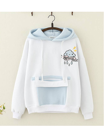 Modakawa Sweatshirt Blue Cloud Embroidery Hoodie