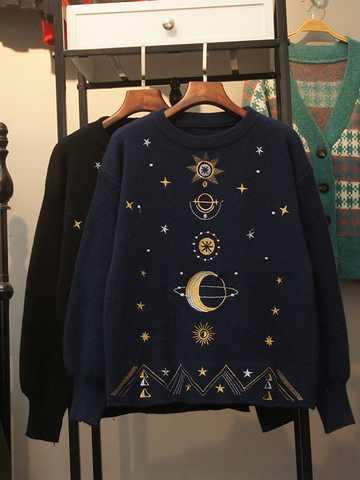 Modakawa Sweatshirt Blue Embroidered Starry Sky Sweatshirt