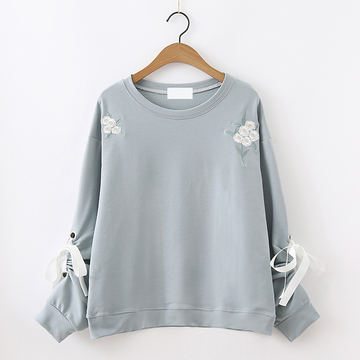 Modakawa Sweatshirt Blue Flower Embroidered Lace Sweater