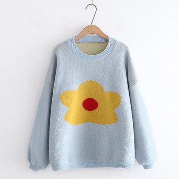 Modakawa Sweatshirt Blue Flower Pattern Drop Shoulder Sweater