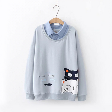 Modakawa Sweatshirt Blue Gray Cat Fish Fake Two-Piece Sweatshirt