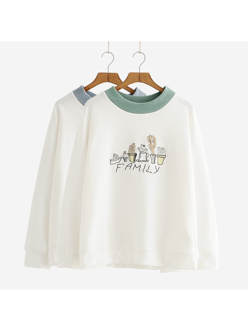 Modakawa Sweatshirt Blue Kawaii Thin Plant Embroidery Sweatshirt