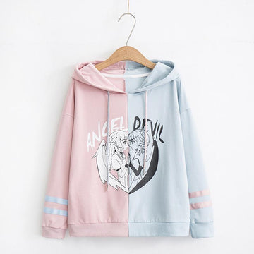 Modakawa Sweatshirt Blue / M Angel Devil Japanese Cartoon Hoodie Color Block