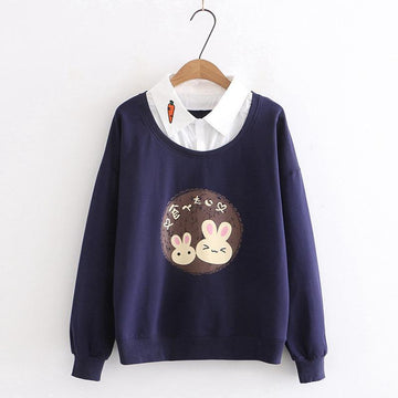 Modakawa Sweatshirt Blue / M Bunny Carrot Fake Two-Piece Shirt Sweatshirt