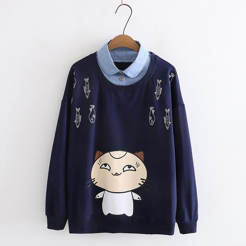 Modakawa Sweatshirt Blue / M Cat Fish Print Fake Two-Piece Sweatshirt