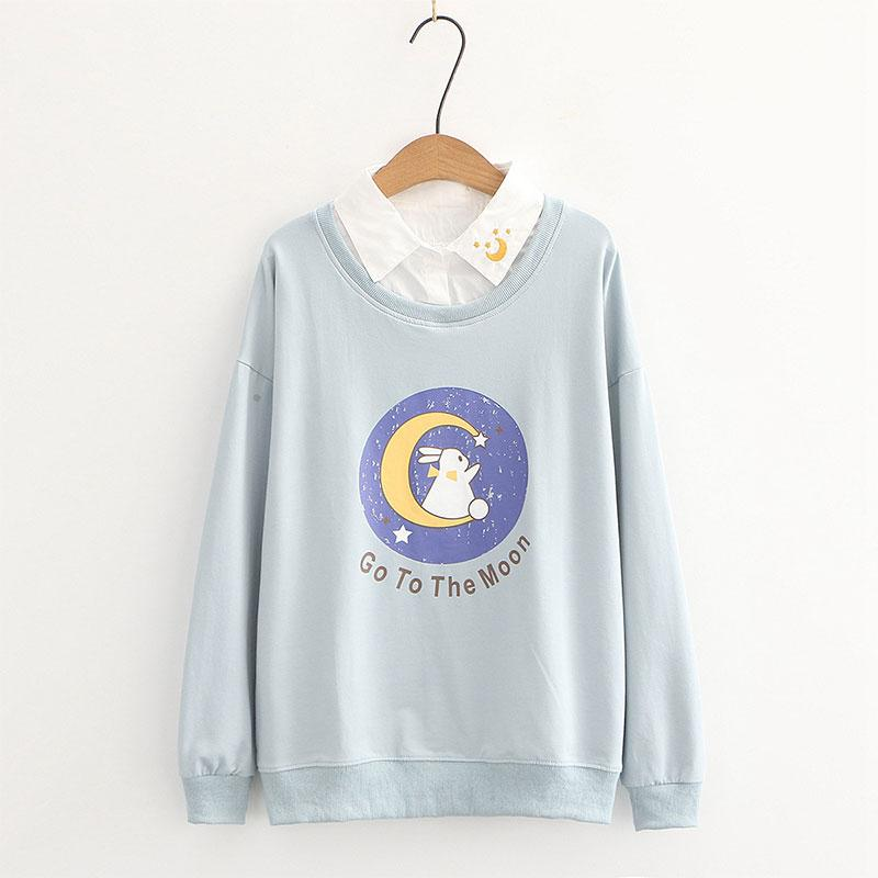 Modakawa Sweatshirt Blue / M Collar Bunny GO TO THE MOON Letter Print Moon Embroidery Sweatshirt