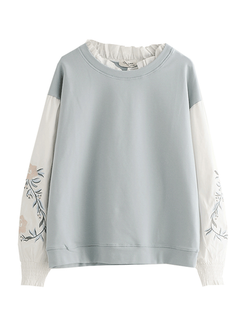 Modakawa Sweatshirt Blue / M Color Block Fake Two-Piece Sweatshirt