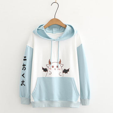 Modakawa Sweatshirt Blue / M Devil Print Ears Color Block Hoodie